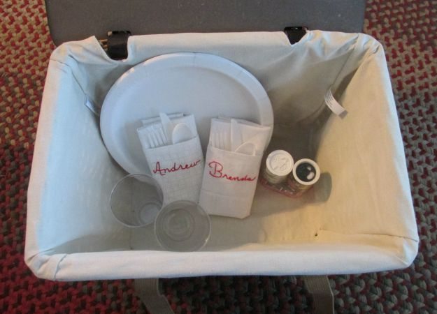 Handmade Napkins in a Picnic Basket