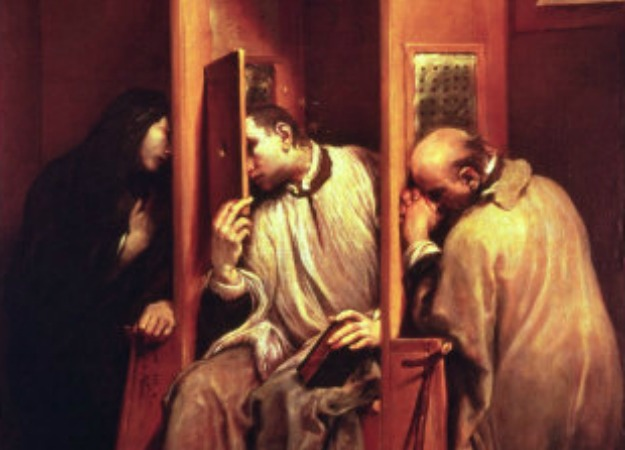 St. John Nepomucene hearing the queen of Bohemia's confession.