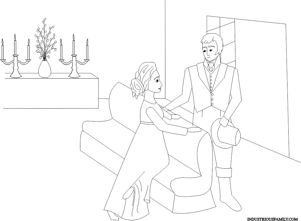 Emma And Mr Knightly Coloring Page