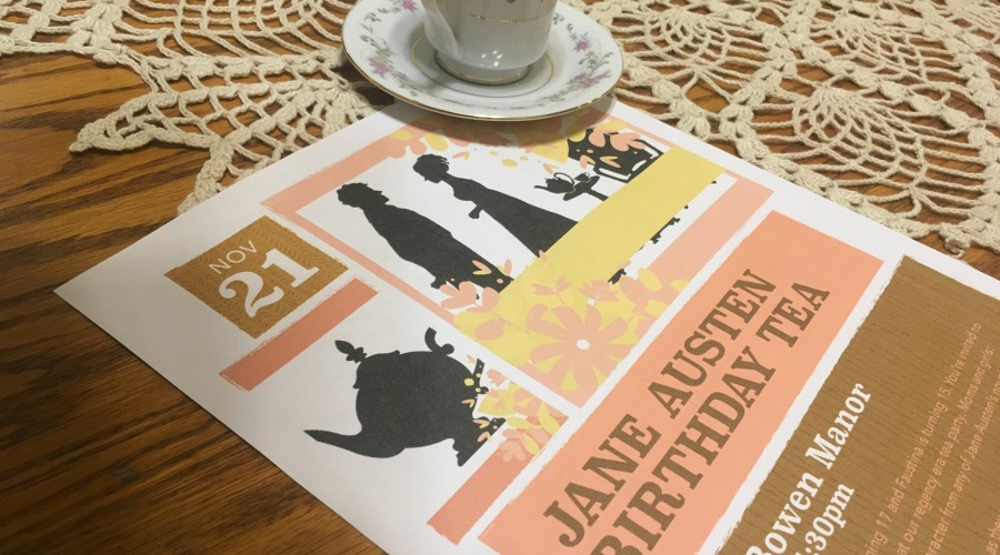 Jane Austen Birthday Party Invitation