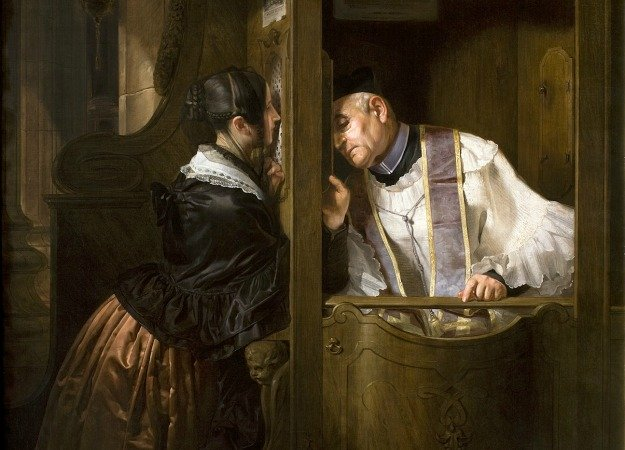 Priest Hearing a Confession